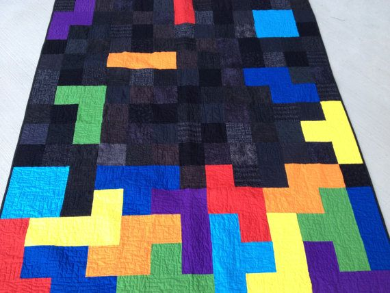 Tetris Blocks Handmade Video Game Quilt Twin Size by quiltyninja: Sewing, Games Rooms, Design Videos, Blocks Handmade, Videos Games, Handmade Videos, Nerd Rooms, Games Quilts, Blankets Ideas
