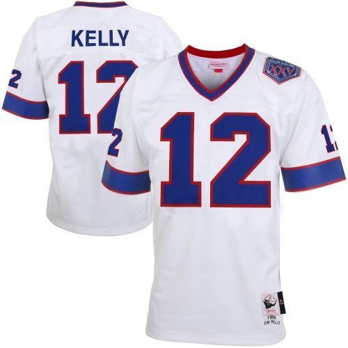 Mitchell & Ness Jim Kelly Buffalo Bills Super Bowl XXV 1990 Authentic Throwback Jersey – White