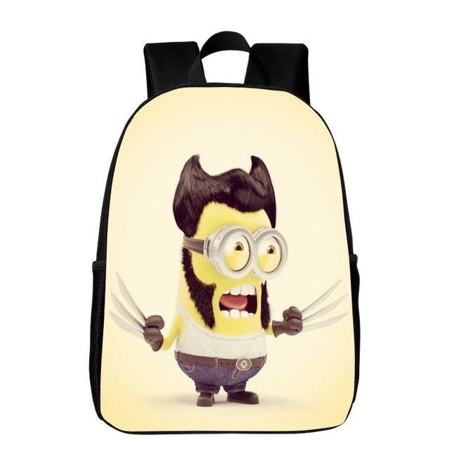 2017 Cool Polyester 16 Inches Printing Minions Comic Black Kids Baby School Bags for Teenagers Girls Backpack Women Schoolbag