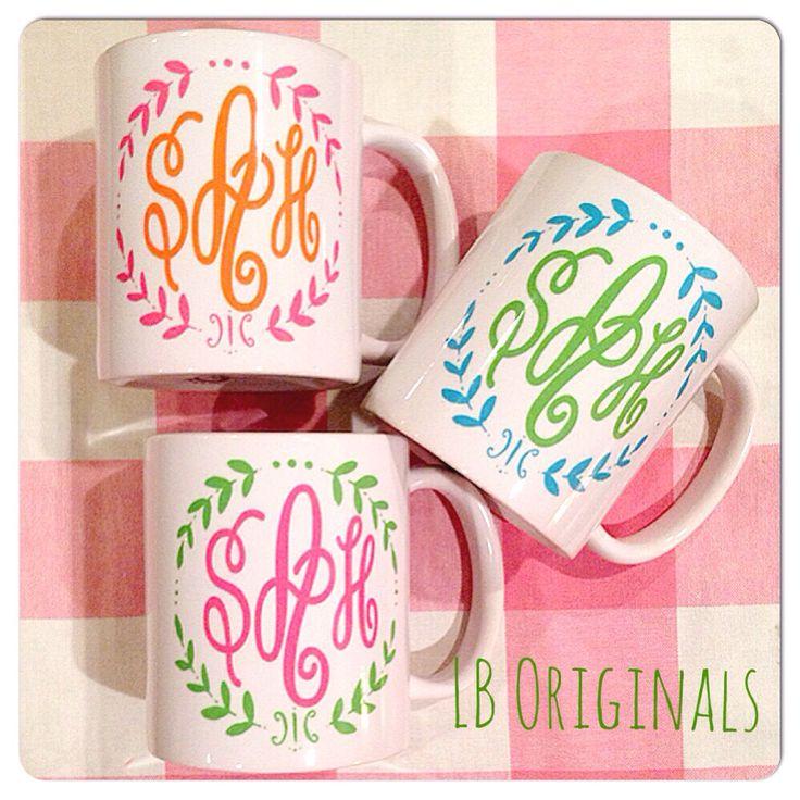 Happy monogram mugs