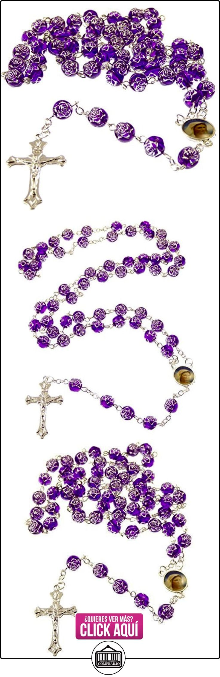 R Heaven - Rosa púrpura de flores de plástico rosario collar de longitud de los 56cm de largo  ✿ Joyas para mujer - Las mejores ofertas ✿ ▬► Ver oferta: http://comprar.io/goto/B008X4B6K8