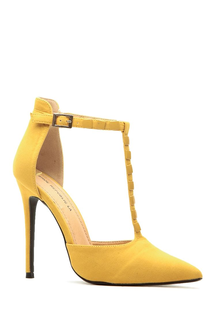 Mustard Faux Suede Pointed Toe Studded T Strap Heels @ Cicihot Heel Shoes online store sales:Stiletto Heel Shoes,High Heel Pumps,Womens High Heel Shoes,Prom Shoes,Summer Shoes,Spring Shoes,Spool Heel,Womens Dress Shoes