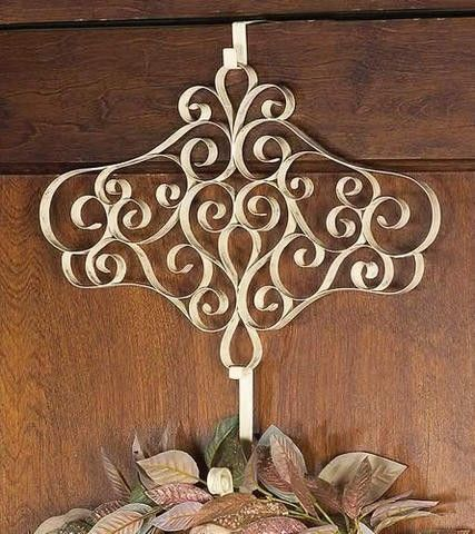 Ornate * Detailed * Antique Ivory * Mirabella Over The Door Hanger Brand New * Victorian-look Reproduction Handcrafted of 1 wide flat strap metal curled into fancy scrolling oval shaped design, it i