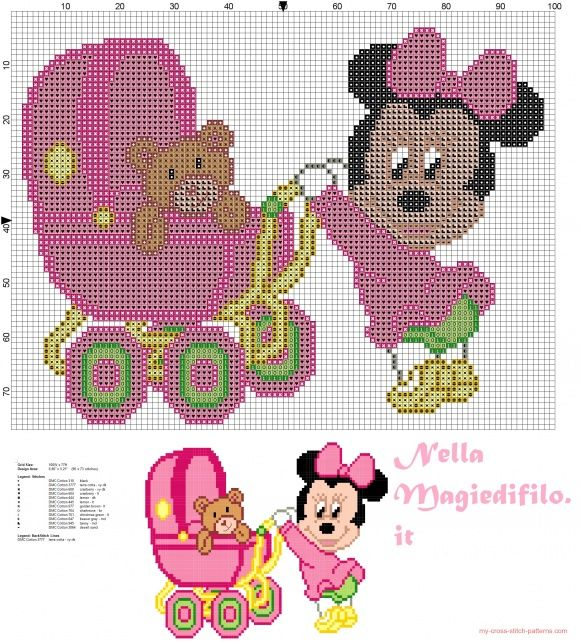 Baby Minnie Mouse with pram (click to view)