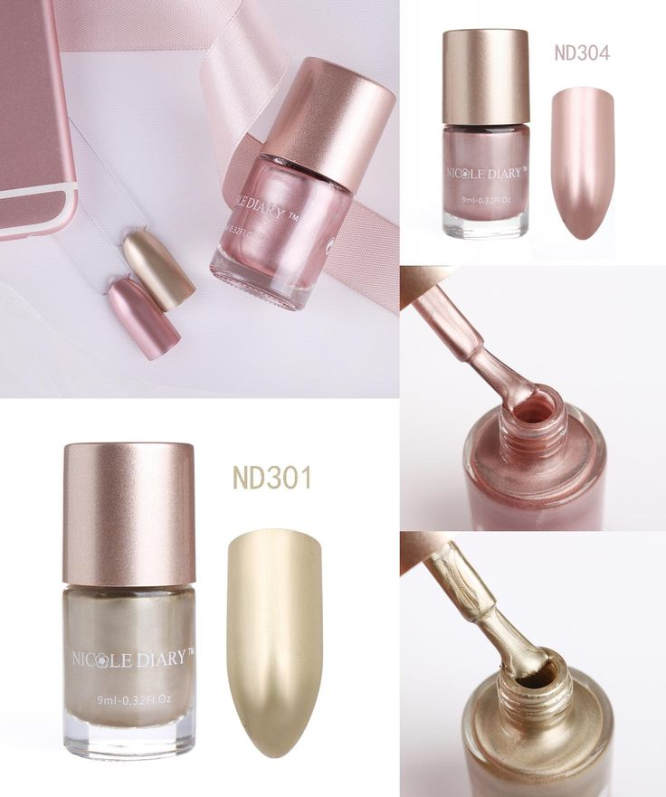 [Visit to Buy] NICOLE DIARY Metallic Gold Nail Polish Light Pink Mirror Effect Metal Color Manicure Nail Art Varnish #Advertisement