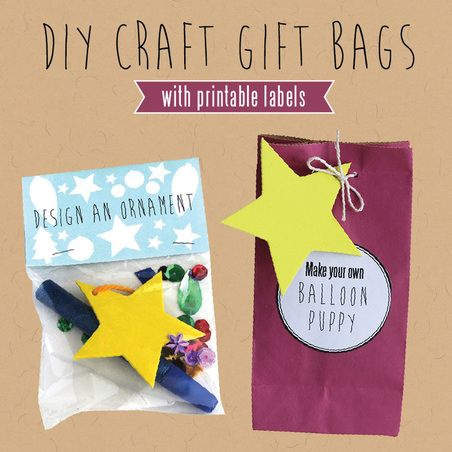 Diy Craft Gift Bags For Kids With Printable Labels