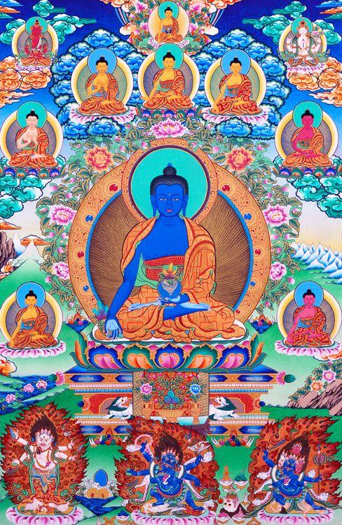Bhaisajyaguru, the Medicine Buddha, and the seven Medicine Buddhas, accompanied by Amitayus, Shakyamuni Buddha, Avaloketishvara, Shadbhuja Sita Mahakala, Shadbhuja Mahakala, and Chatarmukha Mahakala.