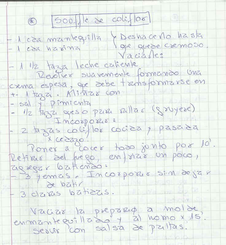 SOUFFLE DE COLIFLOR   #SALADO #PLATOS #BUDIN #COLIFLOR
