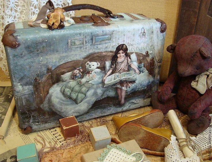 "Купить Чемодан ""Сказка на ночь"" - чемодан, ретро, винтаж, мишка, детская, тедди медведи, картон"