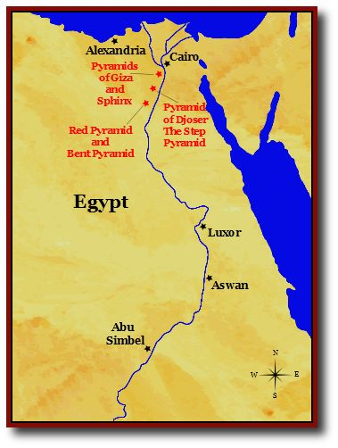 Ancient Giza Map - Map of egypt pyramid locations