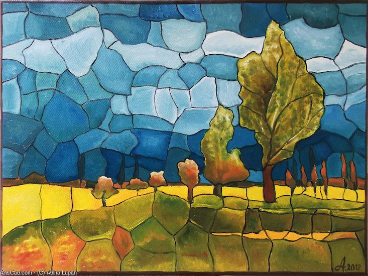 oil on canvas  40 x 50 cm, for sale - dida_lupan@yahoo.com #oil #canvas #traditional #painting #mozaique #landscape #stained glass #memory