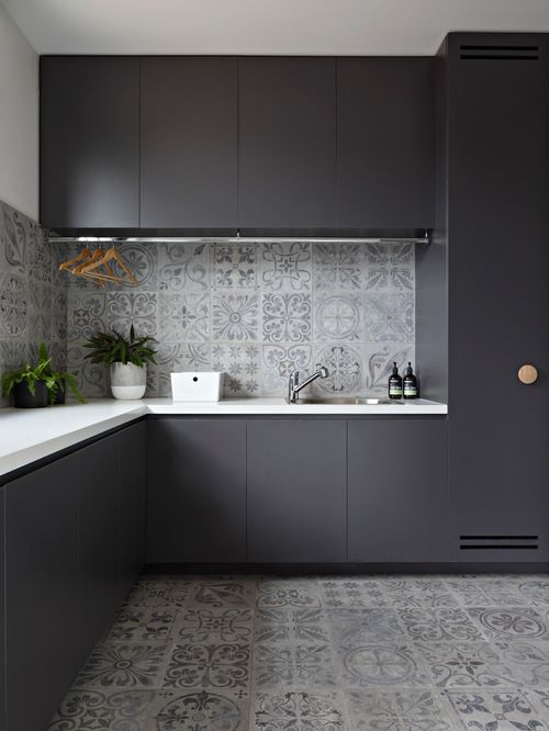 Image result for laundry dark cupboard white bench top