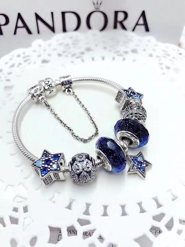 84d3196b4 Pandora blue theme star charm bracelet | Pandora | Jewelry, Pandora ...