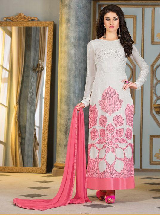 $56.28 Off White Semi Georgette Pakistani Style Suit 57205