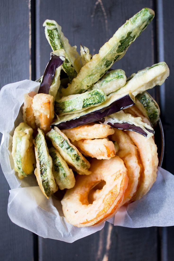 vegan tempura with a dipping sauce