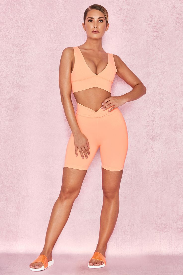 Work-Out Wear : 'Torch' Pastel Neon Orange Cycling Shorts