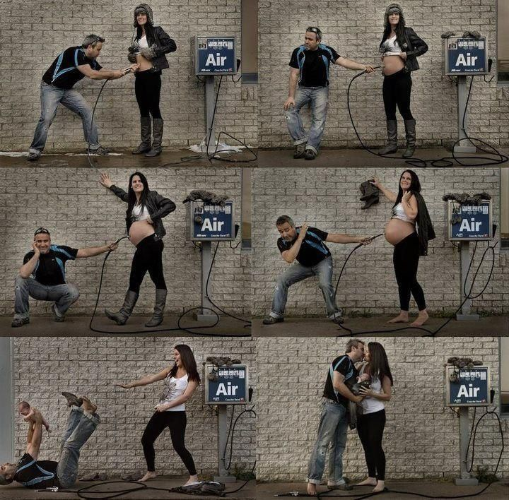 Lol very cute idea for pregnancy pictures.