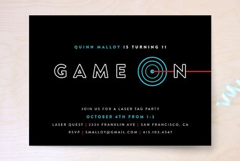 Laser Target Children's Laser Tag Birthday Party Invitations by Pistols at minted.com