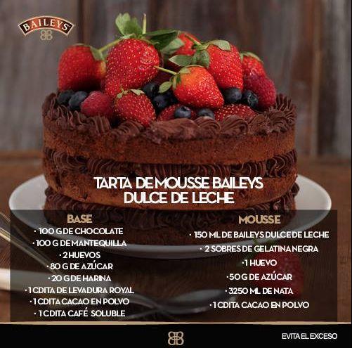 #RecetaBaileys Un pastel especial para ese día especial. Aprende a cocinar Tarta de Mousse Baileys Dulce de Leche