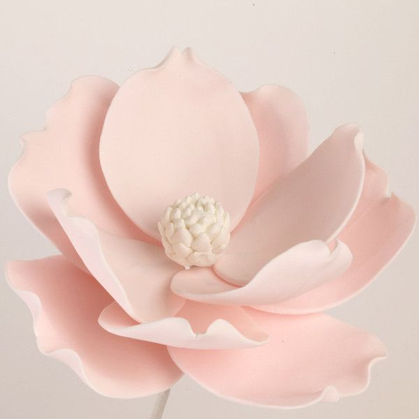Pink Gumpaste Magnolia Cake Topper perfect for Cake Decorating rolled fondant wedding cakes. | CaljavaOnline.com