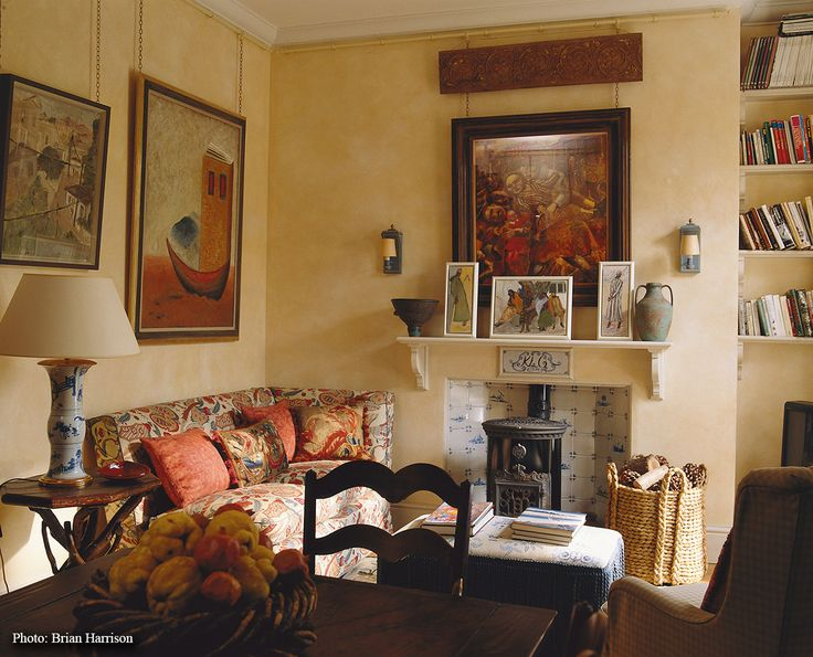 Love the little stove... Sibyl Colefax & John Fowler Interior Design and Decoration