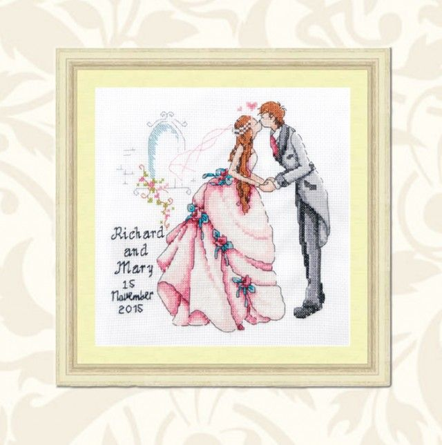 Personalised Wedding Sampler - What a wonderful gift to give the happy couple, personalised with the names of the Bride & Groom and their Wedding Date. This exquisite cross stitch hand embroidered Wedding Sampler will always remind them of their special day. Worked on white linen with cotton floss, this enchanting sampler is sure to catch your eye.
