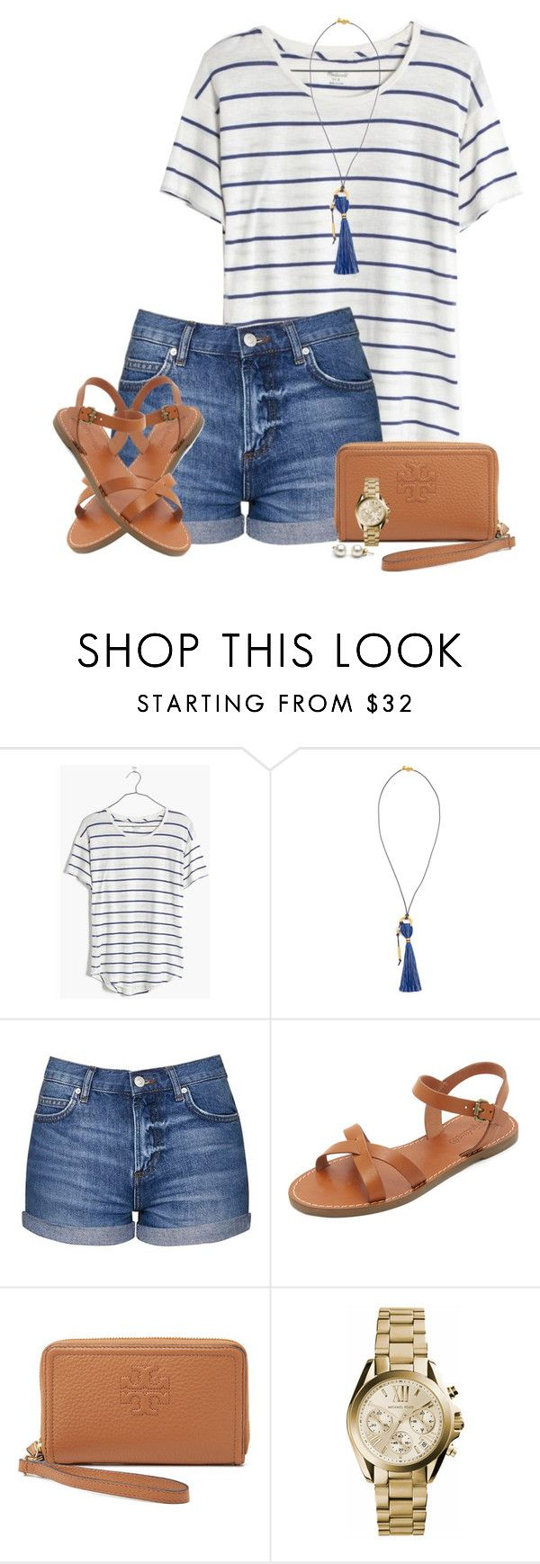 """""""Striped tee, tassel necklace and sandals"""" by steffiestaffie ❤ liked on Polyvore featuring Madewell, Topshop, Tory Burch and Michael Kors"""