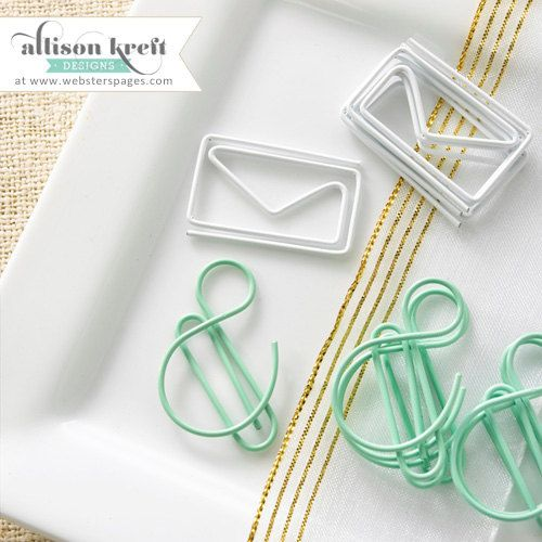 Envelopes & Ampersand Paperclips • Ampersand Decorative Paper Clips (10/Pkg) Envelope Paper Clips • Ampersand Paper Clip (PC026)