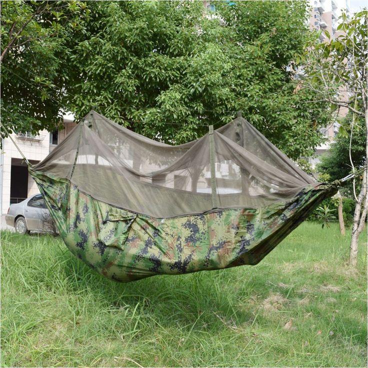Draagbare Indoor Outdoor Hangmat voor Backpacken Camping Opknoping Bed Met Klamboe Slapen Hangmat Camo Gratis Verzending