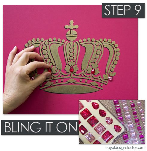 Stencil with embellishments from Royal Design Studio