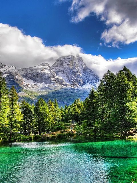 Blue Lake, Cervinia, Valle d'Aosta, Italy