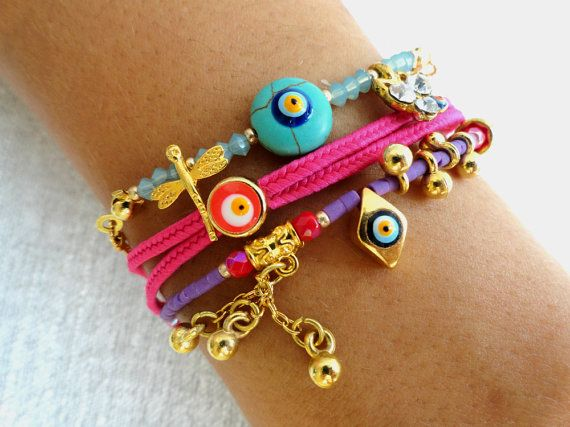 Ethnic authentic bracelets sets, turkish jewelry, arabic, evil eye bracelet, oriental accessories, mother jewelry, best friend birthday, via Etsy