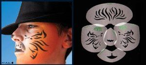 Tiger Design Stencil Airbrush Makeup Face Template by European Body Art. $26.70. StencilFlex stencils make airbrush face painting applications faster while eliminating underspray.. StencilFlex technology sets a new standard for airbrush face painting.. Airbrush face stencils can be formed and curved according to the shape of the face.. The exclusive design of FacilFaces stencil borders and our StencilFlex technology sets a new standard for airbrush face painting. With E...