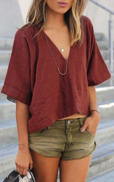 06ca6ff0e09  summer  outfits   Red Deep V Neck Oversized T Shirt + Olive Green Short  Shorts