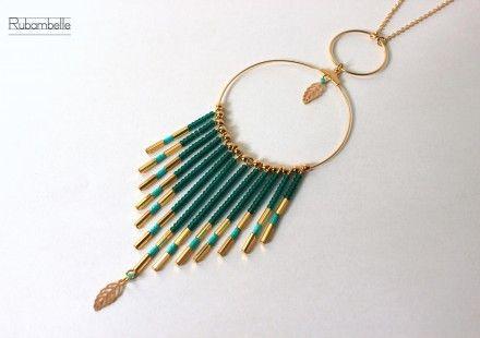 Sautoir Boheme Chic Emeraude : Collier par rubambelle sur ALittleMarket