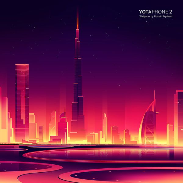 YotaPhone 2 - Dubai as graphic artwork by Romain Trystram created for a series of wallpapers.