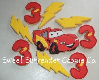 Cute Lightning McQueen cookies