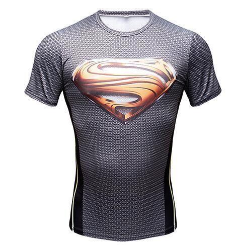Printed Superman T-Shirt Tee 3D T-shirts Men Short Raglan sleeve Fitness Cosplay Costume