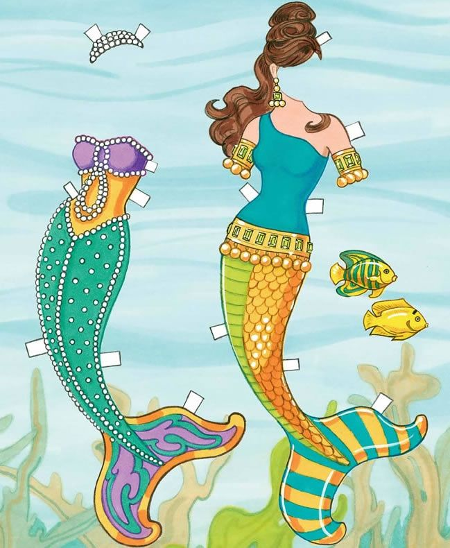 Mermaid Paper Doll Dover Publications   She Looks Like Sheu0027s From The  Outfits 3 And 4