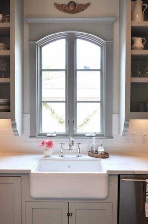 window detail + gray + subway tile + farmhouse sink | Sally Wheat Interiors: Gray Kitchen Cabinets, Kitchens Design, Window, Interiors, Sally Wheat, Faucets, Farmhouse Sinks, Gray Kitchens Cabinets, Kitchens Sinks