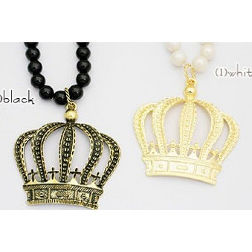 $3 89Fashion Pearl Crown Pendant Long Chain Necklace Sale at line Cheap