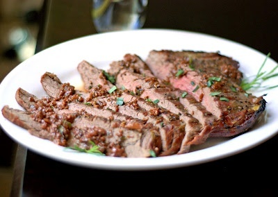Pan Grilled Flank Steak With Soy-Mustard Sauce Recipe ...