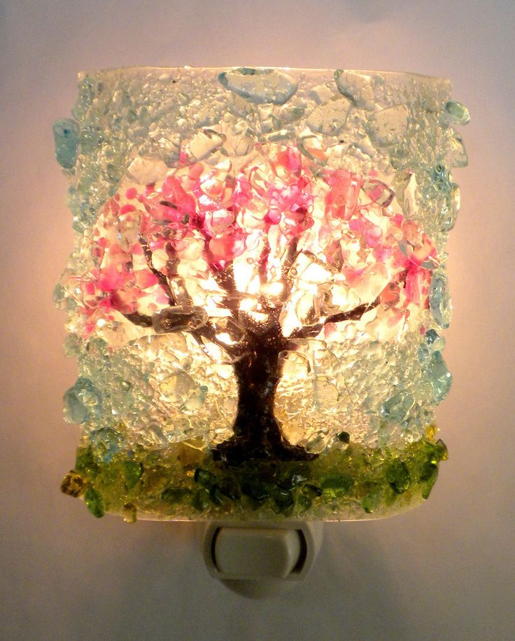 RebornGlass.com - Cherry Blossom Tree Recycled Bottle Glass Night ...