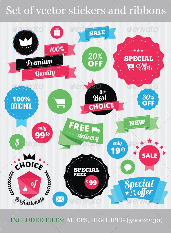 Set of Vector Stickers and Ribbons  - Miscellaneous Web Elements