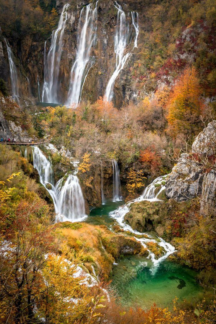 The wonderful waterfalls of the Plitvice Lakes National Park, Croatia.