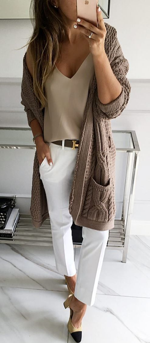how to style a knit cardigan : nude top + white pants + heels