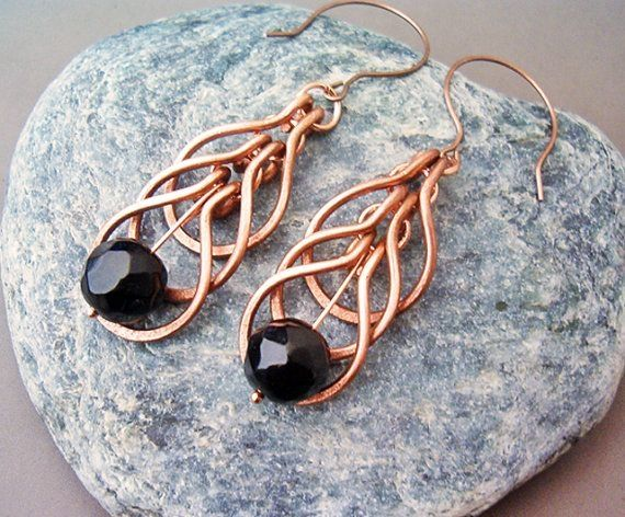 Wire Wrapped Earrings Copper and Black Agate Gemstone - Handmade Copper Earrings - wire wrapped Earrings handmade by wanting
