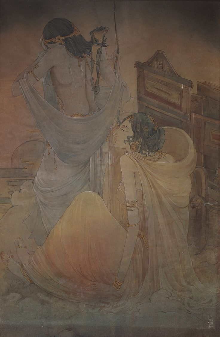 Ramgopal Vijaivargiya Medium: Water colour wash on paper pasted on paper Size: 40 x 27 in.