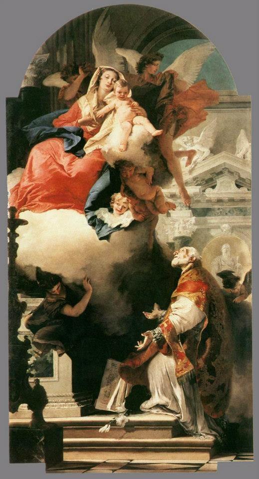 Giovanni Battista Tiepolo - Madonna in Gloria col Bambino e San Filippo Neri.  Chiesa di san Filippo Neri (Camerino)