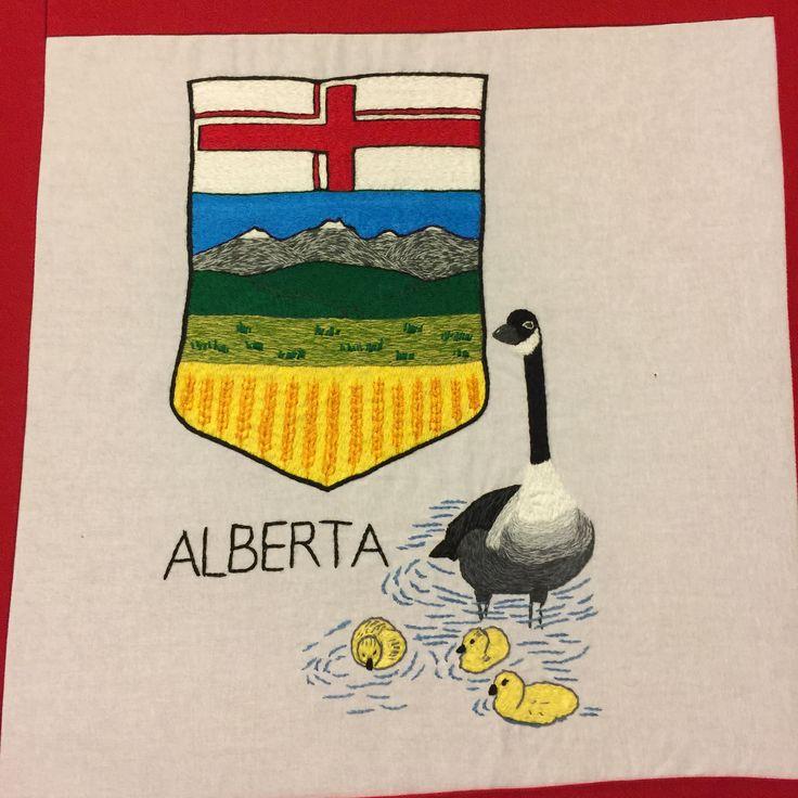 Alberta, hand embroidered.